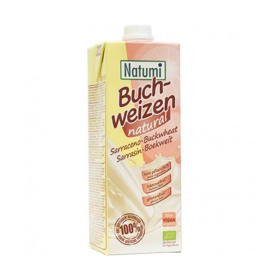 Leche de trigo sarraceno sin gluten ecológico bio Natumi 1lt 12 BRICKS / CAJA