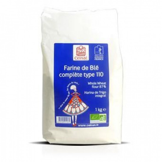 Harina trigo integral tipo 110 bio Celnat 1 kg